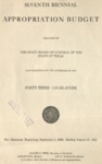 Seventh Biennial Appropriation Budget - 43rd Legislature 1933-1935 by State of Texas