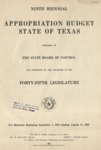 Ninth Biennial Appropriation Budget - 45th Legislature 1937-1939 by State of Texas