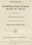 Tenth Biennial Appropriation Budget - 46th Legislature 1939-1941 by State of Texas