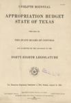 Twelfth Biennial Appropriation Budget - 48th Legislature 1943-1945 by State of Texas