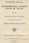 Thirteenth Biennial Appropriation Budget - 49th Legislature 1945-1947 by State of Texas