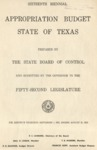 Sixteenth Biennial Appropriation Budget - 52nd Legislature 1951-1953 by State of Texas