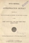 Fifth Biennial Appropriation Budget - 41st Legislature 1929-1931 by State of Texas