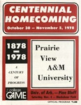 Oct 30, 1978- Prairie View A&M vs University of Arkansas