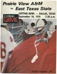 Sep 10th 1976- Prairie View A&M vs East Texas State