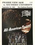 Sept 24, 1983 - Prairie View A&M vs Southern