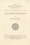 Announcement Graduate Study- The School Year 1937-39 by Prairie View State Normal And Industrial College